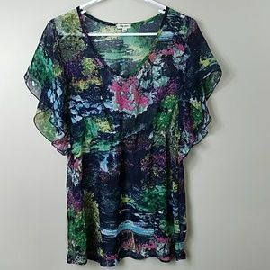 Lily Star Sheer Watercolor Blouse